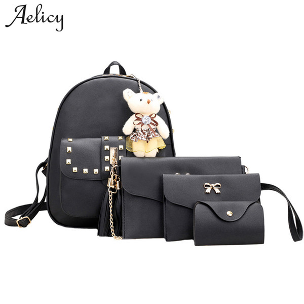 Aelicy Luxury 4 Sets Bear Animals Backpack Women Bag School Bags For Girls BackpacFor Women New Tassel Shoulder Bags