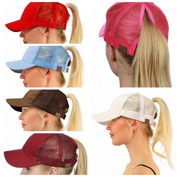 top popular CC Ponytail Cap Messy Bun Women Ponytail Caps Cap Fashion Girl Basketball Hats Back Hole Pony Tail KKA4383 2019
