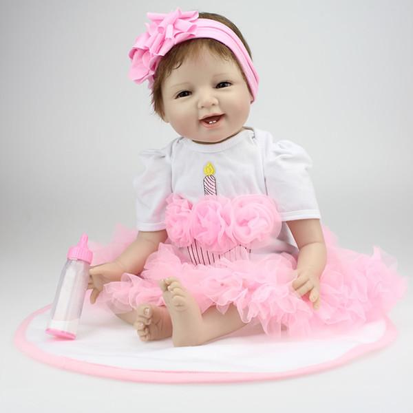 "22""Lifelike Reborn Sleeping Girl Baby55cm Doll silicone Vinyl Real Newborn Baby Doll"
