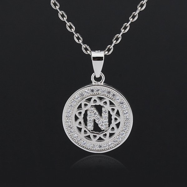 Newest 925 Sterling Silver English Alphabet Letter N Zircon Pendant Chain Necklace For Women