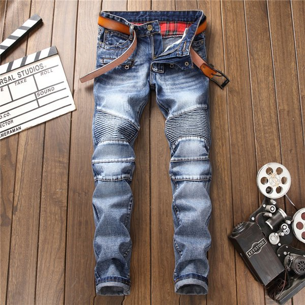 Euorpean American High Street Fashion Men Jeans Blue Color Slim Fit Spliced Denim Biker Jeans Homme Punk Style Hip Hop Men