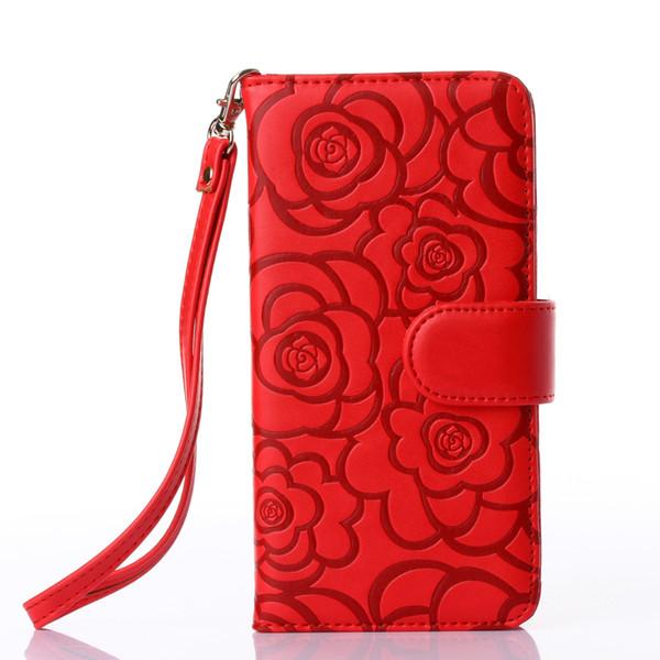 Coque téléphone portable imprimé rose iPhoneX876plus S6 EDGE NOTE5 étui en cuir Support de protection pour carte support à bascule SALE Boutique Phone Case 112