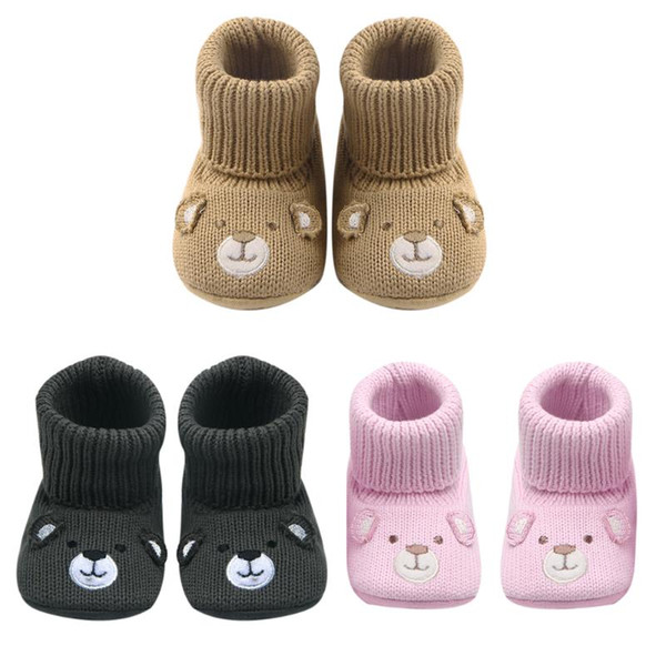 Crochet Knitting Wool Baby Shoes Toddlers Kids Non-slip Soft Sole Walking Shoes Infant Autumn Winter Warm First Walkers