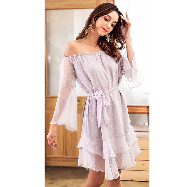 2018 High Quality Autumn Tube Top Belt Sexy Dress Long Sleeve Chiffon Jacquard Women's Clothing Dress
