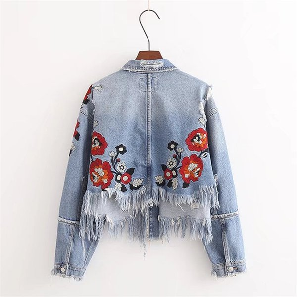 Fashion Floral Embroidery Lady Denim Coats Flower Embroidery Washing Do Old Damaging Jackete Hole Tassel Women Casual Outerwear