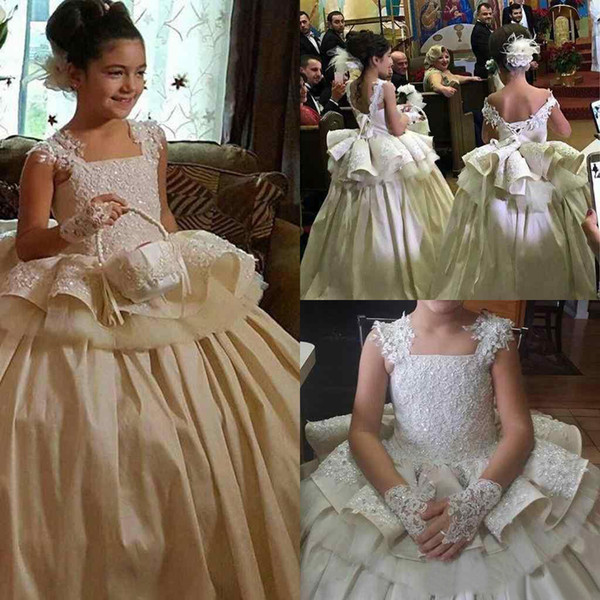 Flower Girls Dresses For Weddings Square Neck Lace Appliques Toddler ...