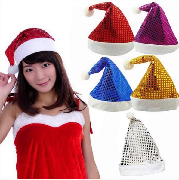 Sombrero navideño de lentejuelas brillantes Tamaño adulto 5 colores brillante  Fiesta de rendimiento sombrero Gorro de 4c8fe7e396d