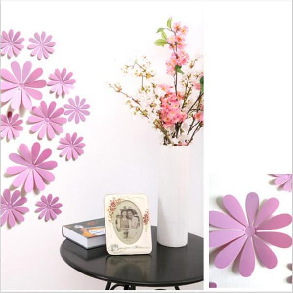 New 12pcs/lot 8 colors flowers PVC 3D wall sticker home Art Wall Decor Bedroom Living room TV Background Decorative decals