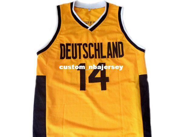 7341e8ae8 wholesale Dirk Nowitzki  14 Deutschland Germany Basketball Jersey Yellow  Stitched Custom any number name MEN WOMEN YOUTH BASKETBALL JERSEYS