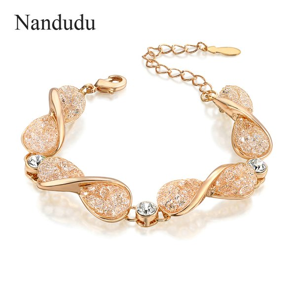 Nandudu ON SALE Rose Gold Color Chain Bracelet Wire Mesh Net Austrian Crystals Fashion Jewelry Bangle Gift B986