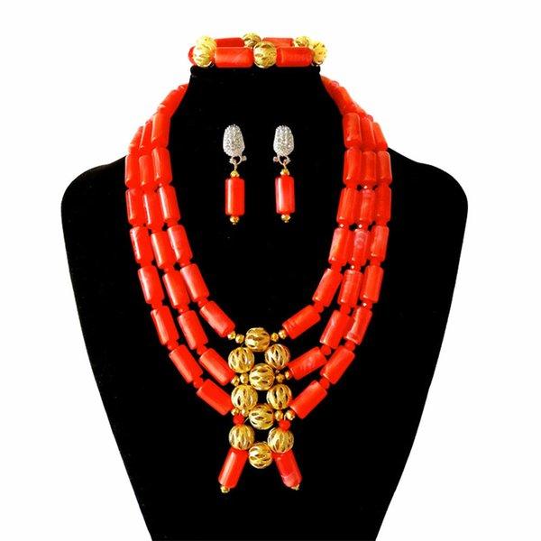 Brand Boutique Nigerian Wedding Beads Bridal African Beads Jewelry Set Women Party Necklace Earrings Bracelet Set Wholesale FS3-12