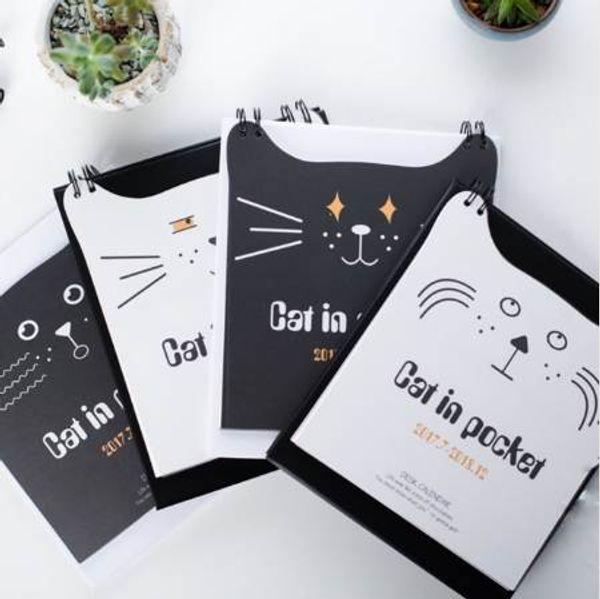 top popular 1 Pcs set Year 2018 Kawaii Cat Desktop Paper Calendar Dual Daily Scheduler Standing Table Planner Yearly Agenda 2020