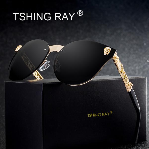 TSHING RAY Fashion Gothic Schädel Randlose Cat Eye Sonnenbrille Frauen Männer Vintage Cameo Beine Übergroße Cateye Sonnenbrille Für Weibliche