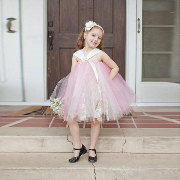 Lovely Pink Flower Girl Dress for Wedding With Empire Knee Length Ball gown Kids Dress Prom Party Birthday Wears First cummunion dresses