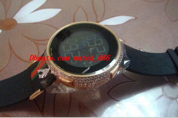 Orologio da polso di lusso Mens Digital Orologio in oro rosa con diamanti 44mm YA114207 Orologio da uomo al quarzo Orologi da uomo Top Quality