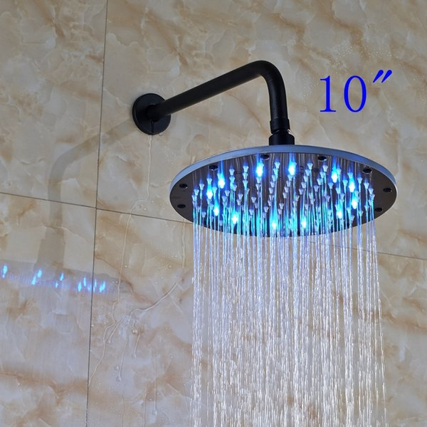 "LED 10"" Rainfall Oil Rubbed Bronze Shower Head Round Top Sprayer W/ Wall Mount Shower Arm"