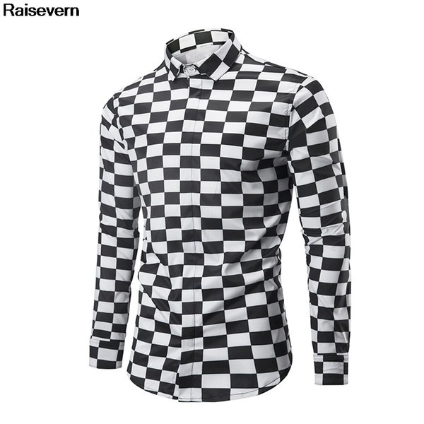 New Black White Plaid Shirt Checked Shirt Men Autumn Winter Eur Size Clothing 2018 New Fashion Long Sleeve Casual Dress