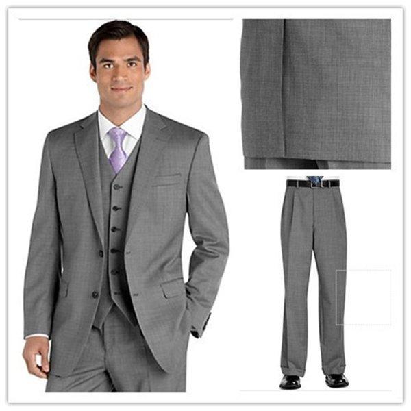 Custom Made Groom Tuxedo Groomsmen Light Gray Wedding Dinner Evening mens Suits Best Bridegroom men suit (Jacket+Pants+Vest)