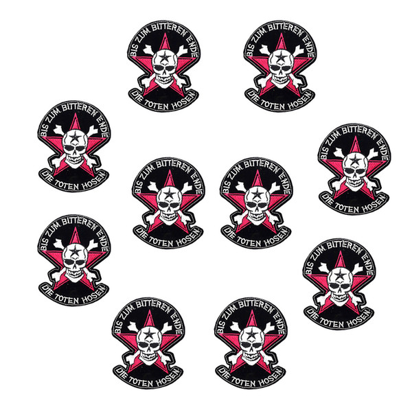 10 PCS Star Skull Patch Badges for Punk Cool Sweater Ironing on Transfer Embroidery Patches for Clothes Sew Accessories for Trousers Jacket