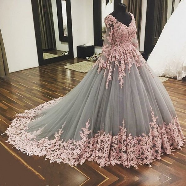 V Neck Long Sleeves Floor Length Applique Tulle Vintage Evening Dresses Pink Applique Grey Tulle New Arrival Evening Gowns