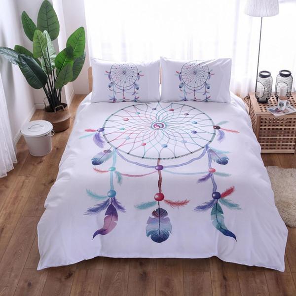 Dairesel Dreamcatcher Yatak Set Pembe Gökyüzü Mavi Nevresim Suluboya Tüy Yatak Seti Yumuşak Mikrofiber Bedclothes Beyaz Dekor
