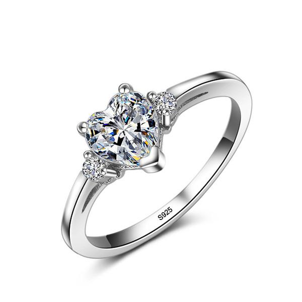 Acier Inoxydable 3 Ct Cubique Zircon Simulé Diamant Mariage Solitaire Ring