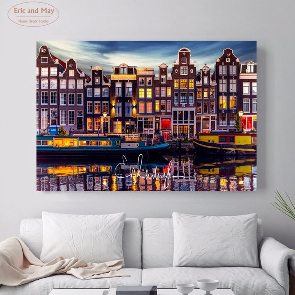 Acquista Amsterdam Paesaggio Foto Canvas Art Print Pittura Poster Immagini  A Parete Soggiorno Decorazione Della Parete Decorazione Della Casa No Frame  ...