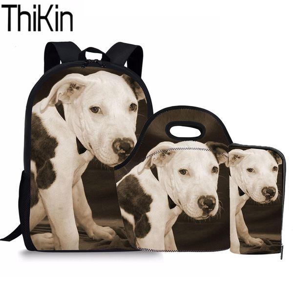 THIKIN 3 Unids / set Niños Bolsas de Escuela para la Escuela Intermedia Bull Terrier Impresión Kids Schoolbag Mochilas Girls Bookbag Bolsa