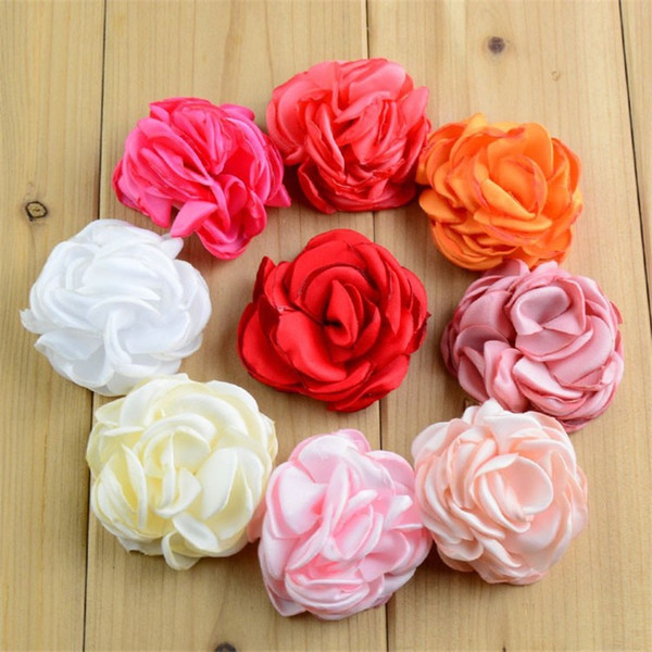 50pcs/lot 24 Color U Pick 2 Inch Layered Burned Satin Rose Fabric Flower Hair Accessories DIY Crafting Supplies MH93