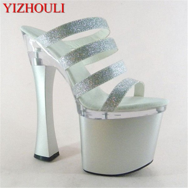 Sexy Glitter 18cm Ultra High Heels Sandals Fashion 7 Inch Platforms Shoes Spool Heel Party Slippers