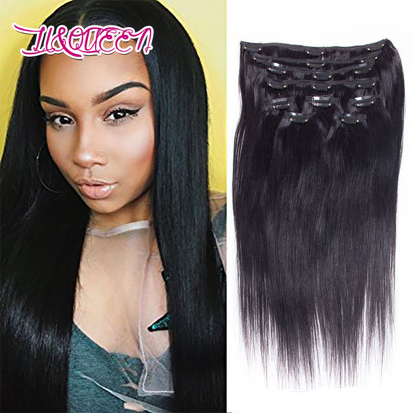best selling Malayzian Virgin Human Hair Clip In Hair Extensions Natural Black Straight Unprocessed Clip Ins 12-28 Inches