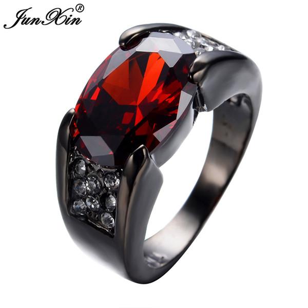 JUNXIN Retro Vintage Red Ring Negro Gold Filled Zircon Ring Mujeres Hombres Joyería de Fiesta de Compromiso de Boda Joyeria S18101608