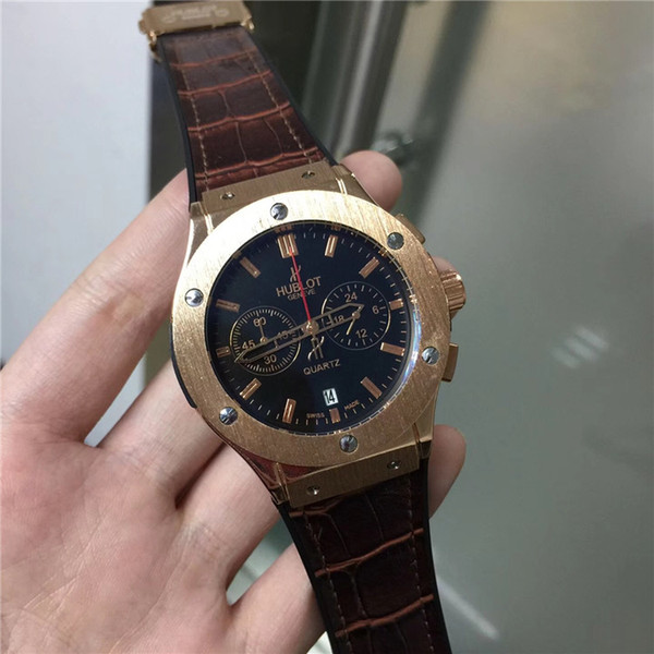 New2018 Hot Sale Swiss Luxury Brand men watches aaa fashion watch quartz business watch leather brown male clocks relogio masculino