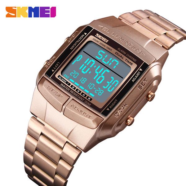 SKMEI 1381 Luxus Sportuhr Herrenuhr Led Digital Alarm Countdown Mode Stahl Männer Armbanduhren Uhr relogio masculin