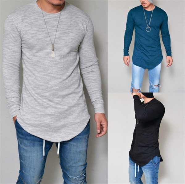Plus size Men O-Neck Long Sleeve Plain Long Breathable Casual Cotton T-shirt White Black Grey Blue Spring and Autumn
