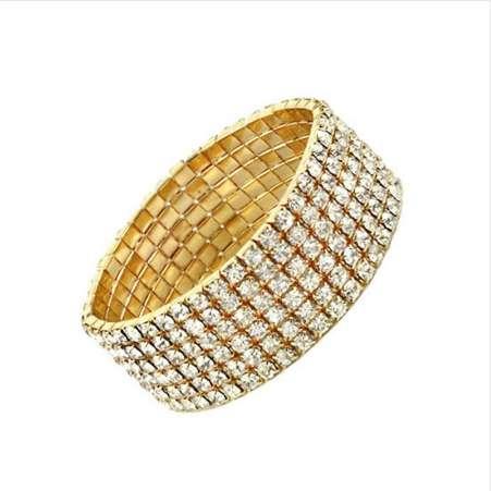 Braut Hochzeit Armband Silber Überzogene 6 Reihen Stretch Armreif für Frauen Hohe Qualität Brautjungfer Braut Hochzeit Schmuck