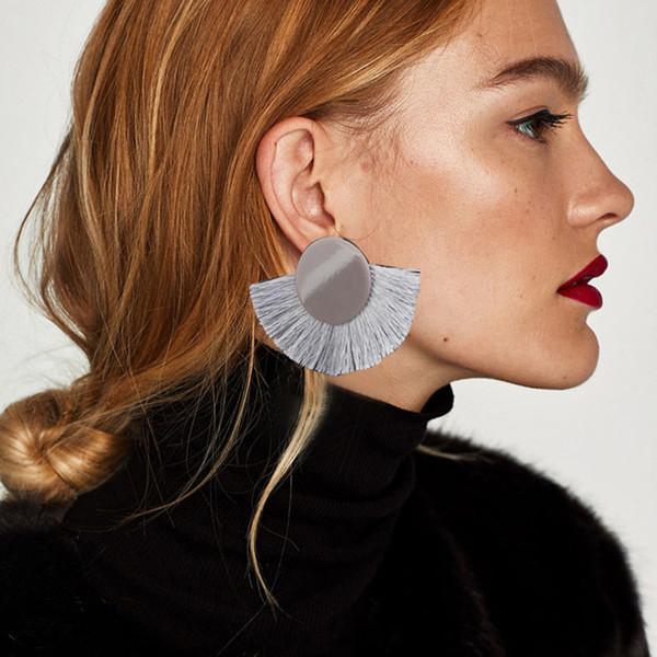 RscvonM Fashion Red Fan Shaped Tassel Hanging Earrings For Women Boho Acrylic Big Fringe Earrings Jewelry 2018 Statement Earring