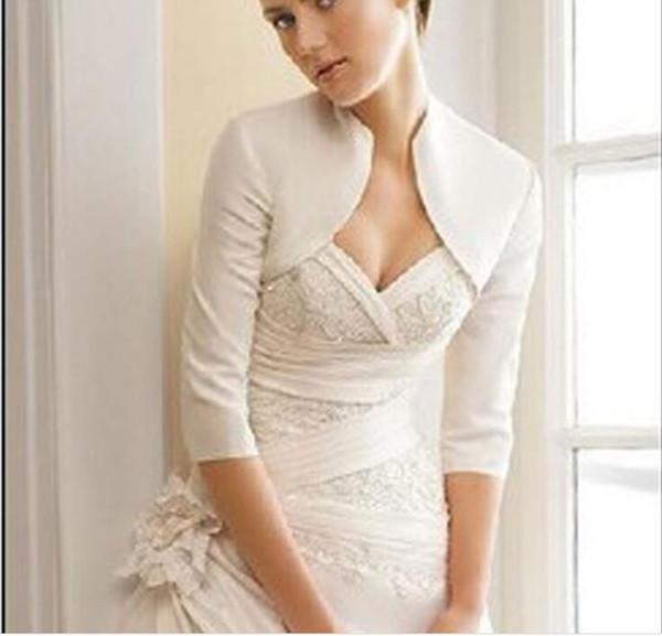 Elegant 3/4 Sleeve Satin Ivory Wedding Bolero Wedding Jacket Bridal Wraps Customized High Quality