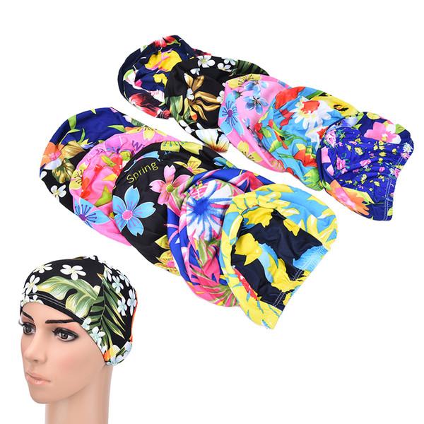 Baskı Yüzmek Şapka Çiçek Yüzme Kap Kadınlar Dantelli Yüzme Kapaklar Uzun Saç Kulak Koruma Caps Havuz Banyo Şapka Rastgele Renk