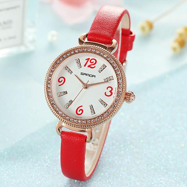 Casual Female Tisch Rose Gold Diamant Frau Quarz Uhren Marke Damen Kleid Uhr Leder Student Mode Uhr Digitalwaage