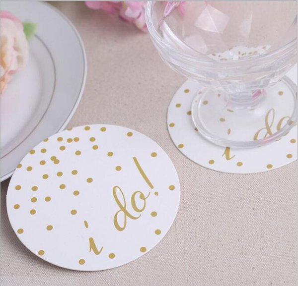 I Do Sweet Wedding Cup Pads Round Card Paper Coaster Placemat for Wedding Party Home Table Decoration Favors Supplies