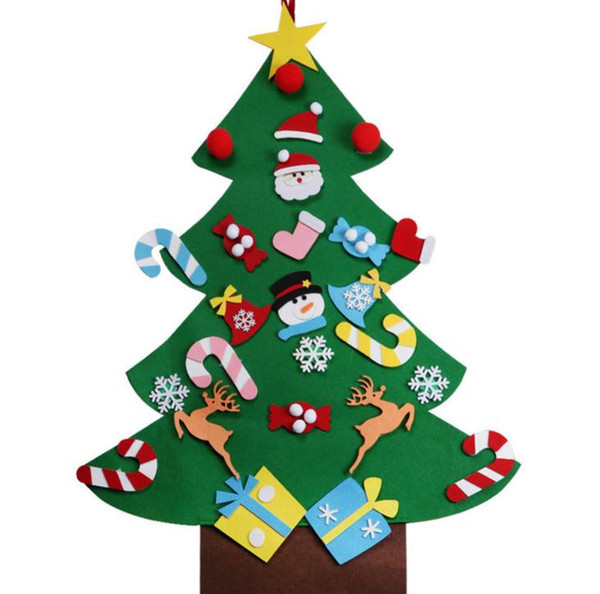 10PCS DIY Felt Christmas Tree Decorations Door Wall Hanging New Year Tree with Drop Ornaments Event Party Supplies SN1105