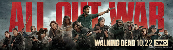 Free Shipping The Walking Dead Season 8 Poster Cast Banner 72x24 High Quality Art Posters Print Photo paper