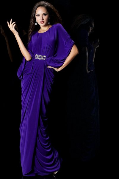 Vestido De Noite Long Evening Dresses/Dress 2018 Scoop Neck Half Sleeve Crystal Purple Evening Gown N132