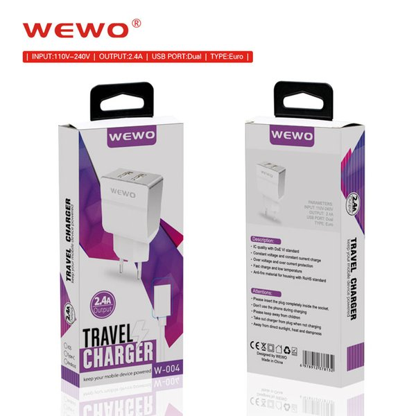 WEWO Dual Usb Wall Chargers 2.4A AC Power Adapter EU plug Portable Charger Phone Powerbank samsung s7 fast charger with retail package