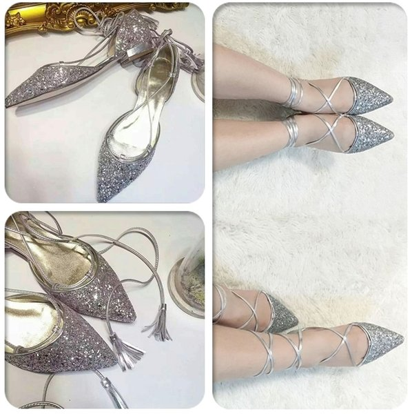 Hot New Style Side Empty Pointed Heel Sequin Lace-Up women shoes strappy sandals comfortable women shoes factory price free shipping