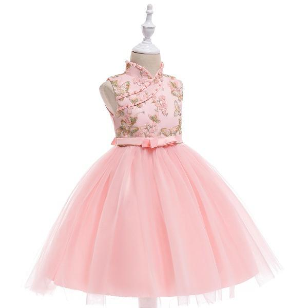 Free Shipping - Cheongsam Embroidery Formal Tulle Baby Girls Sleeveless Chinese Style Evening Gown Party Wedding Princess Dresses KA842