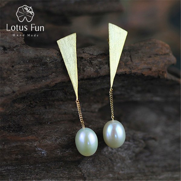 Lotus Fun Real 925 Sterling Silver Natural Pearl Creative Handmade Fine Jewelry Special Triangle Drop Earrings for Women Brincos S18101206