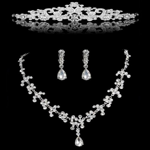 Fashion Crystal African Jewelry Sets Silver Rhinestone Butterfly Bridal Necklace Earrings Tiara Set for Wedding Hair Accessories