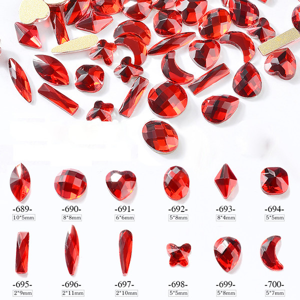 10 Pcs Red Nail Art Rhinestones Flatback Crystal Butterfly Moon Oval Heart Designs Shiny Gems Jewelry 3d DIY Charm Decorations